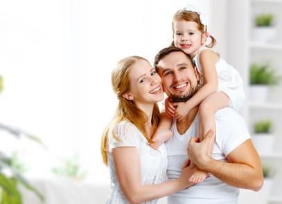 fröhliche Familie, Vater, Mutter, Tochter