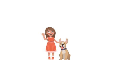 Mädchen spielt mit Hund - Beihilfeanspruch Kinder